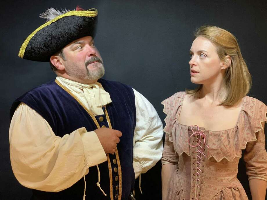 "Jon Leone of Wallingford as Caesar and Jillian Simms of Deep River as Una in ""The King of Friday's Men."" Photo: Courtesy Of Gaelic Players"