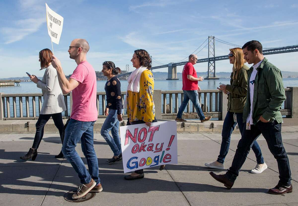 Google employees walk down the Embarcadero towards the Ferry Building during a march and company-wide walkout from their offices in San Francisco, Calif. Thursday, Nov. 1, 2018 highlighting the mishandling by the company of sexual misconduct allegations.