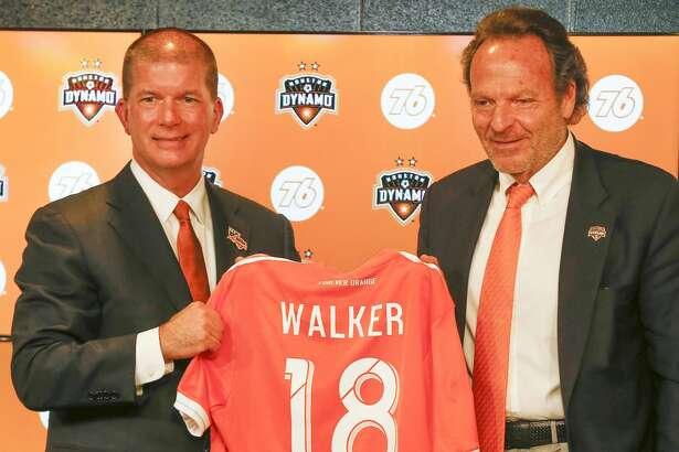 Houston Dynamo appointed John Walker (left) president of business operations as Houston Dynamo & Dash Majority Owner Gabriel Brener welcomed him Thursday, Nov. 1, 2018, in Houston.