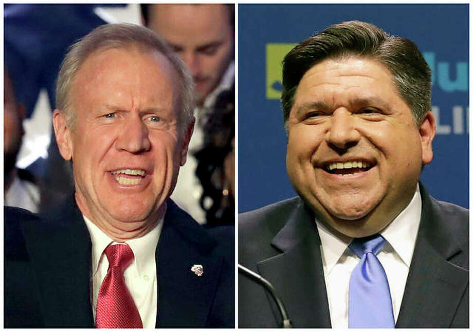 This combination of March 20, 2018, file photos shows Illinois Republican Gov. Bruce Rauner, left, and J.B. Pritzker, his Democratic challenger in the November election. Pritzker, who is leading in polls, has used more than $106 million of his own money in the race, while incumbent Rauner has spent $57 million. Photo: AP Photo/File