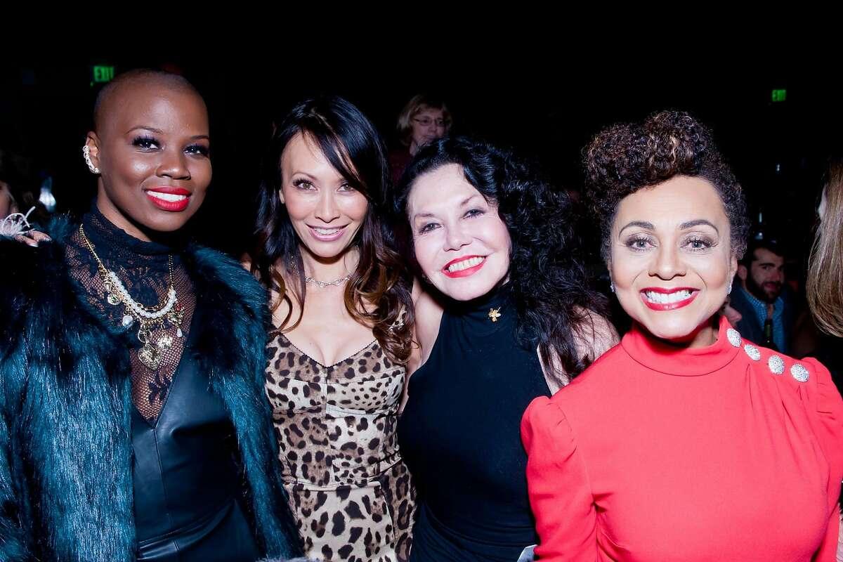 Left to right: V. Bozeman, Coltrane Lord, Janice Mirikitani and Felicia Horowitz2017's Glide Annual Holiday Jam.