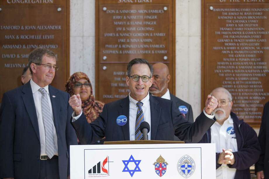 Rabbi David Lyon, of Congregation Beth Israel, speaks about unity during a press conference by interfaith leaders from around the Houston region organized by The Metropolitan Organization, Thursday, Nov. 1, 2018, at Congregation Beth Israel in Houston. Photo: Mark Mulligan, Houston Chronicle / Staff Photographer / © 2018 Mark Mulligan / Houston Chronicle