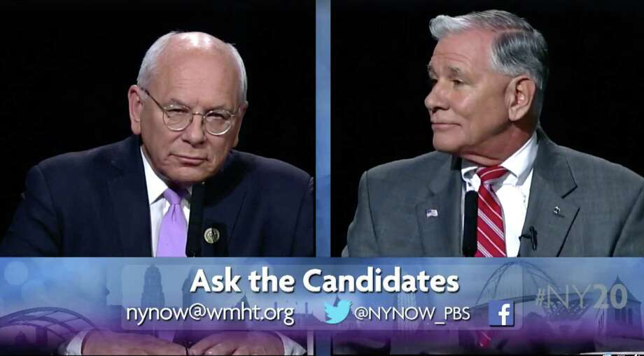 U.S. Rep. Paul Tonko (D-Amsterdam), left, and Republican challenger Joe Vitollo, right, take part in a live 20th Congressional District debate on WMHT-TV. (Courtesy WMHT)
