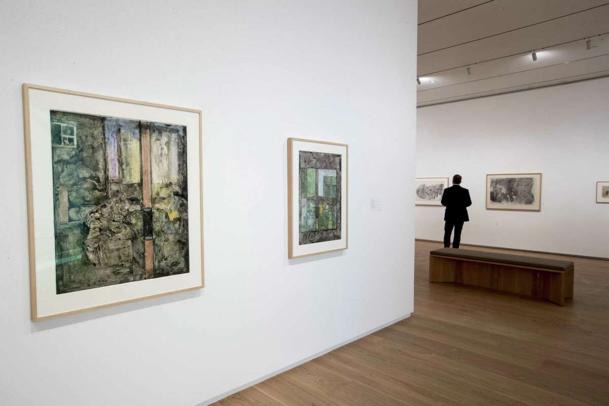 """Watercolor drawings by Jasper Johns are displayed on an entry wall to the show """"The Condition of Being Here,"""" on view at the Menil Drawing Institute through Jan. 27."""