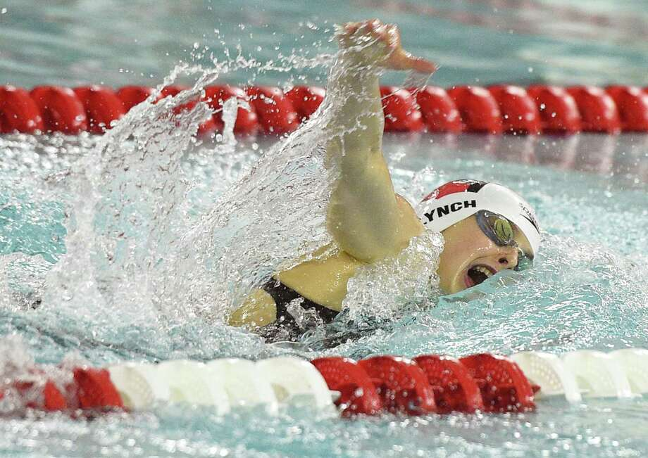 Greenwich's Megan Lynch won the 200 individual medley in a meet record time of 2:01.55 at Thursday's FCIAC championship. For full story and more photos, please visit GameTimeCT.com. Photo: Tyler Sizemore / Hearst Connecticut Media / Greenwich Time