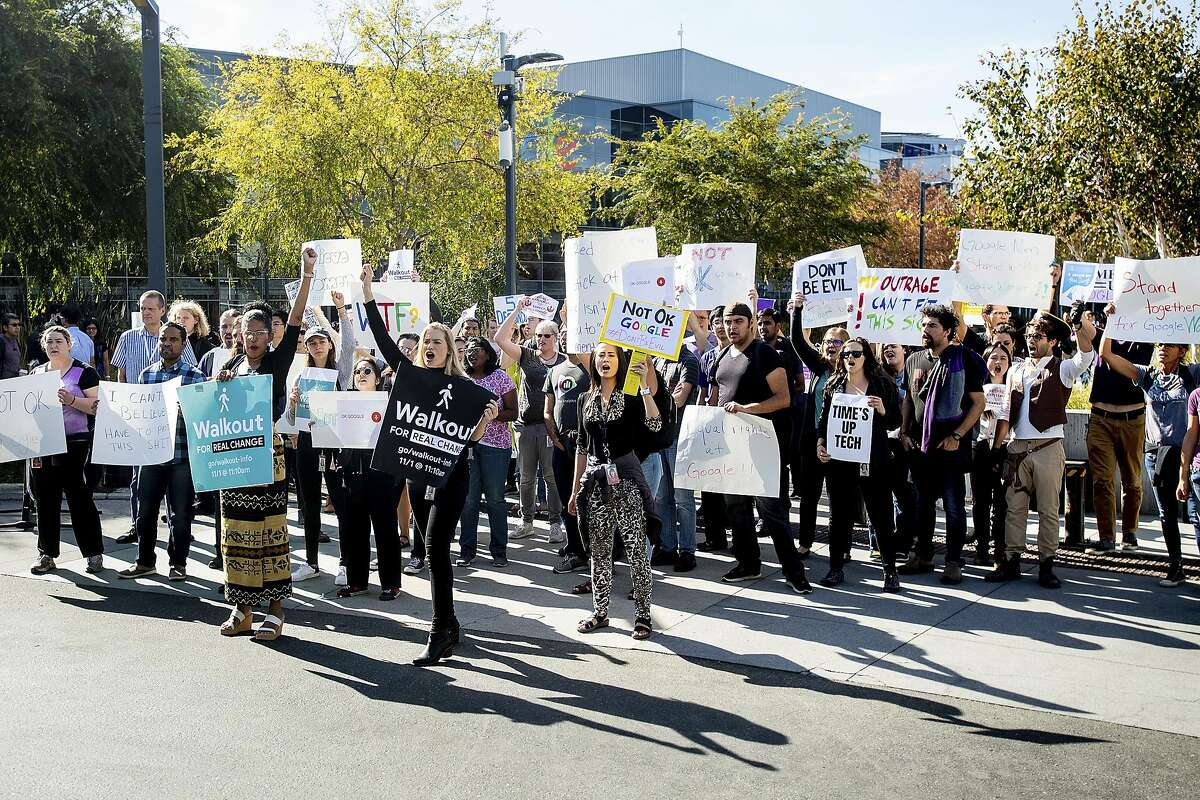 Workers protest the handling of sexual misconduct allegations at Google's headquarters in 2018.