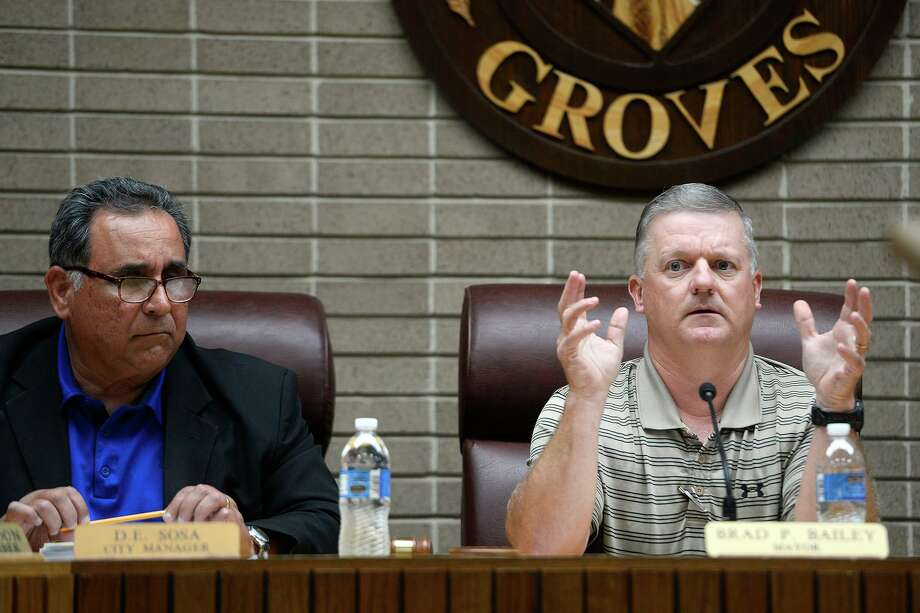 Groves Mayor Brad Bailey speaks during a City Council meeting on Monday. Bailey briefly addressed the topic of dating site photos of councilman Cross Coburn that were anonymously sent to the city and news outlets.  Photo taken Monday 3/19/18 Ryan Pelham/The Enterprise Photo: Ryan Pelham / Ryan Pelham/The Enterprise / ©2017 The Beaumont Enterprise/Ryan Pelham