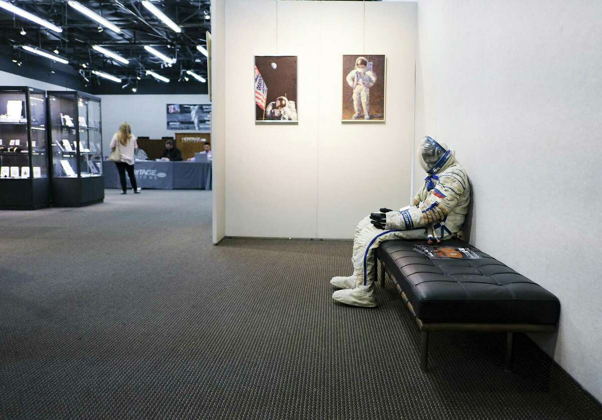 A space suit on display at the Neil Armstrong auction at Heritage Auctions in Dallas on Wednesday, Oct. 31, 2018.