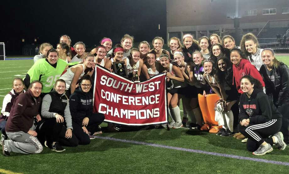 The Pomperaug field hockey team beat Immaculate 1-0 to win the SWC championship. Photo: Ryan Lacey /Hearst Connecticut Media