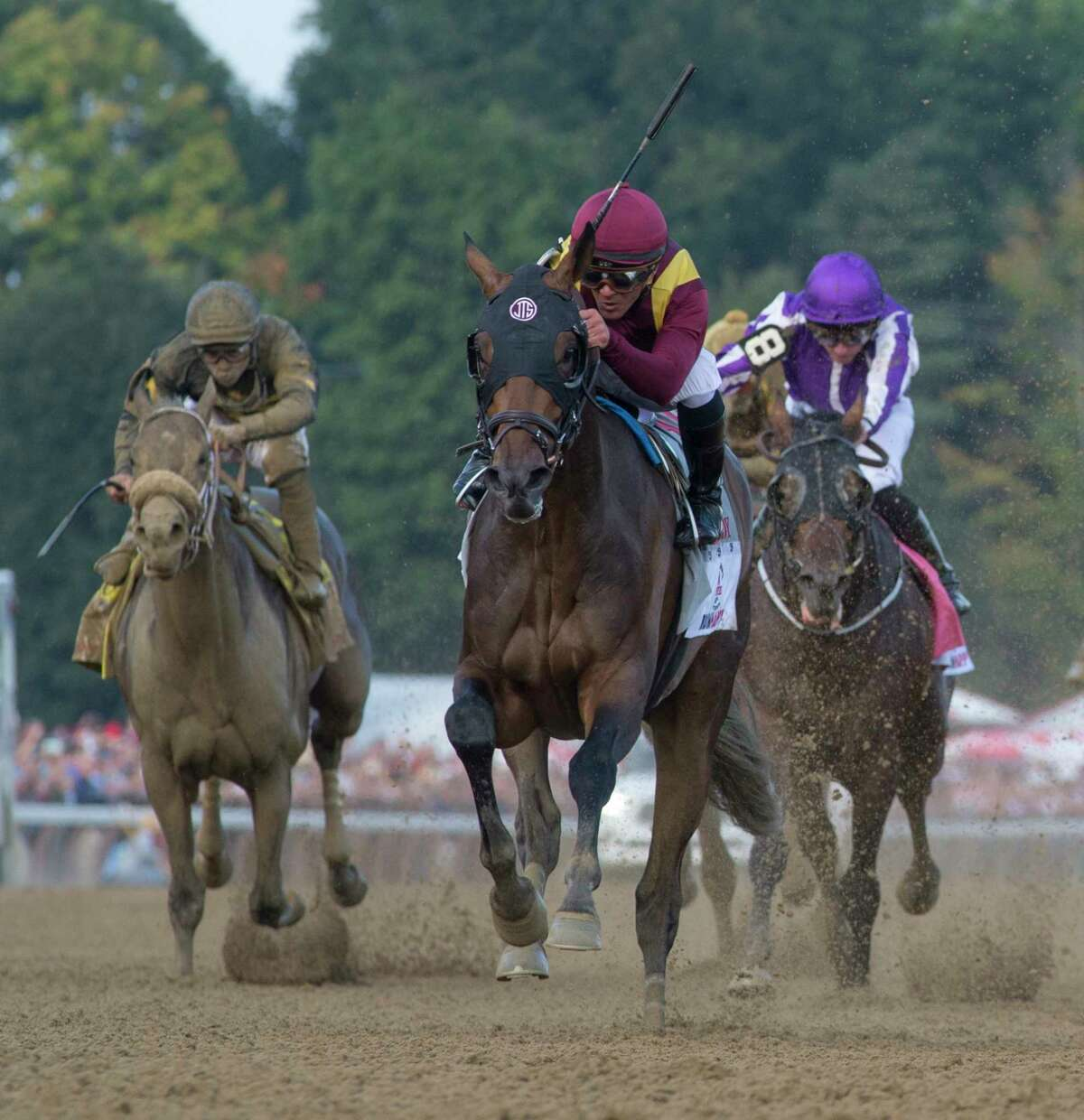 Catholic Boy with jockey Javier Castellano wins the 149th running of the Runhappy Travers Stakes and his sixth personal victory in the race at the Saratoga Race Course Saturday Aug. 25, 2018 in Saratoga Springs, N.Y. (Skip Dickstein/Times Union)