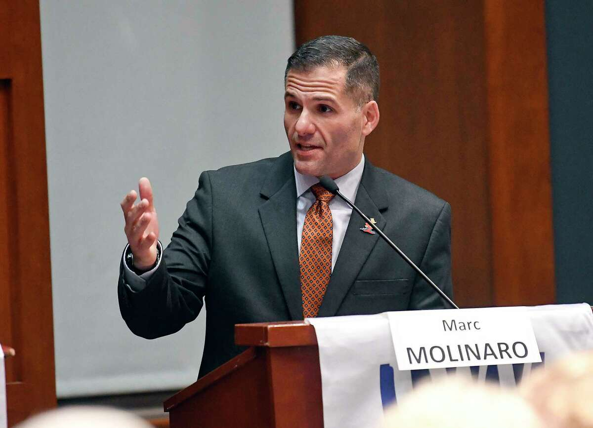 Republican Marc Molinaro has a 4-point net favorability rating, but 46 percent of voters don't have an opinion about him. (AP Photo/Hans Pennink)