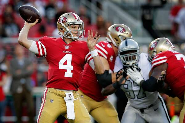 c8d382ed698 3of10San Francisco quarterback Nick Mullens (4) throws in the first quarter  as the San Francisco 49ers played the Oakland Raiders at Levi s Stadium in  Santa ...