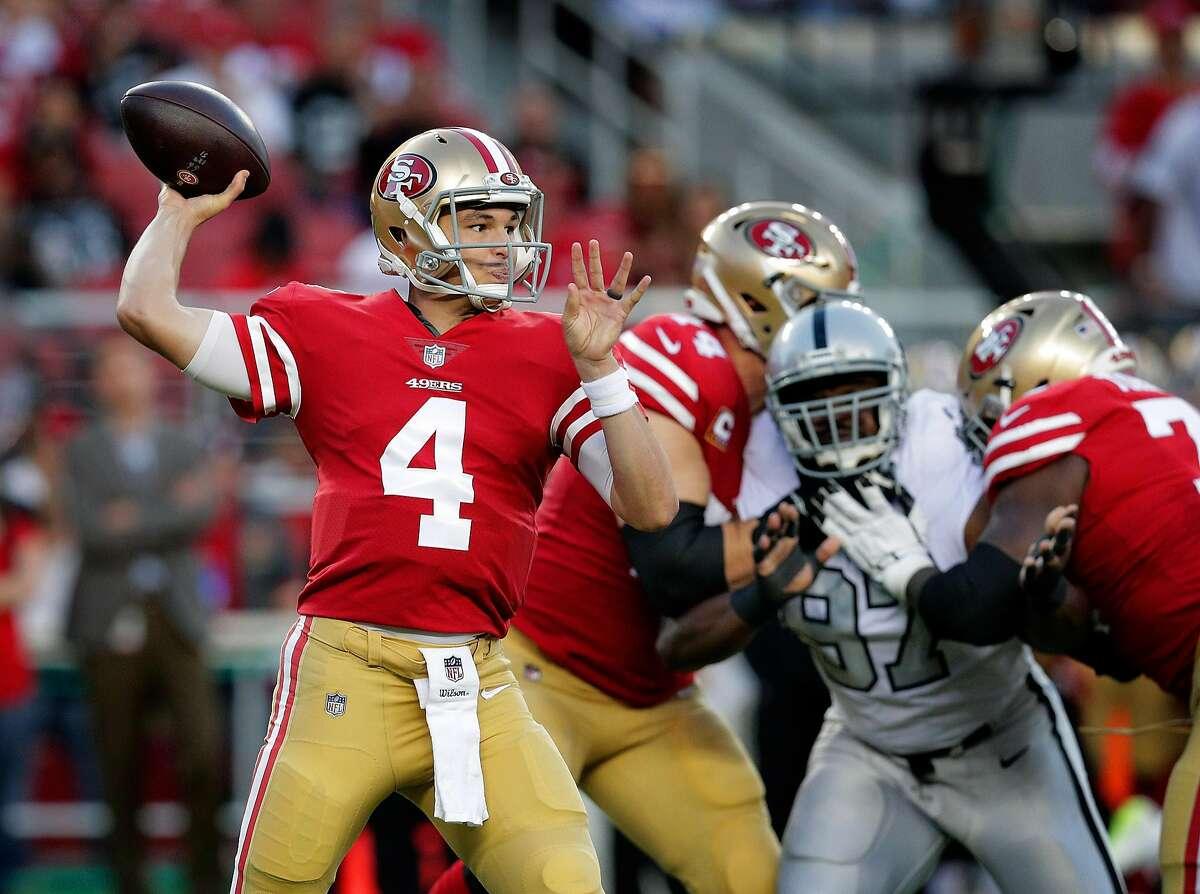 San Francisco quarterback Nick Mullens (4) throws in the first quarter as the San Francisco 49ers played the Oakland Raiders at Levi's Stadium in Santa Clara, Calif., on Thursday, November 1, 2018.