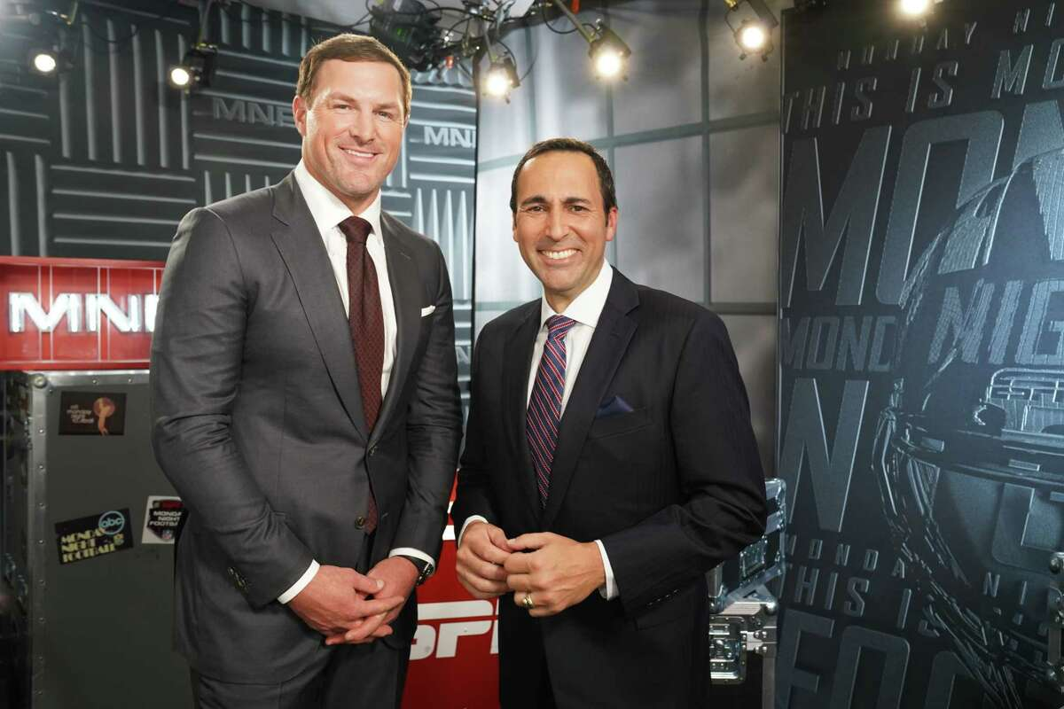 Chicago, IL - September 17, 2018 - Soldier Field: Jason Witten and Joe Tessitore during a regular season Monday Night Football game (Photo by Joe Faraoni / ESPN Images)