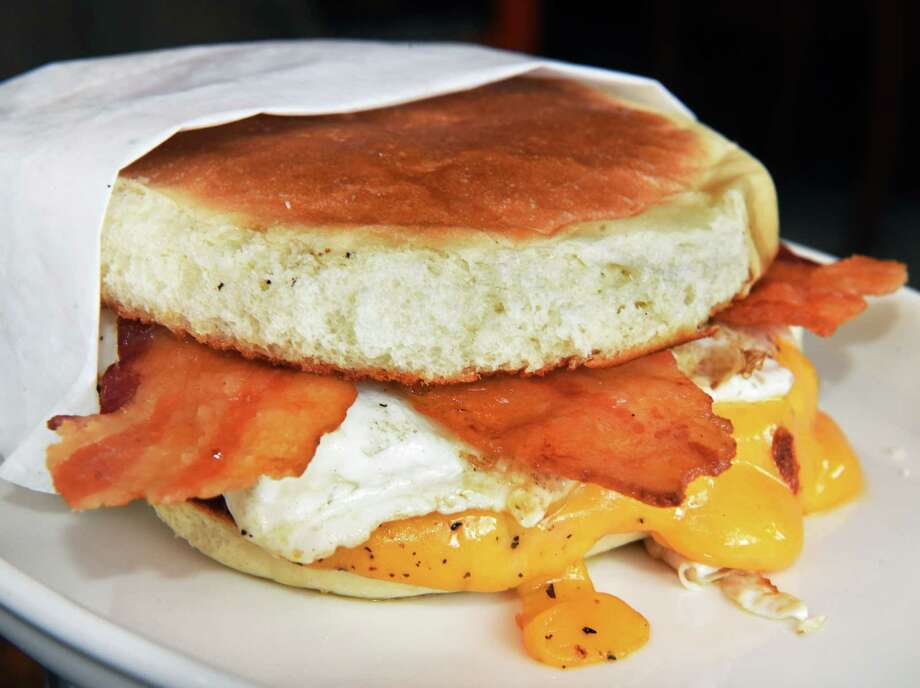 The Any Time Egg Sandwich at Loch & Quay restaurant Thursday Oct. 25, 2018 in Albany, NY.  (John Carl D'Annibale/Times Union) Photo: John Carl D'Annibale / 20045259A