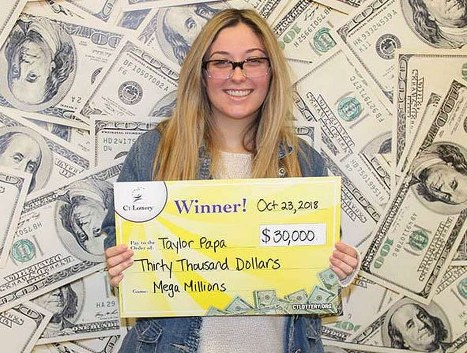 "A 22-year-old waitress from North Haven won $30,000 on a Mega Millions ticket in October 2018. Taylor Papa bought her winning ticket at the Side Street Grille in Hamden where she works as a server. The unexpected windfall comes at the perfect time for Papa. ""I'll be able to pay off some of my college loans and save a little bit for something fun."" Photo: CT Lottery Photo"
