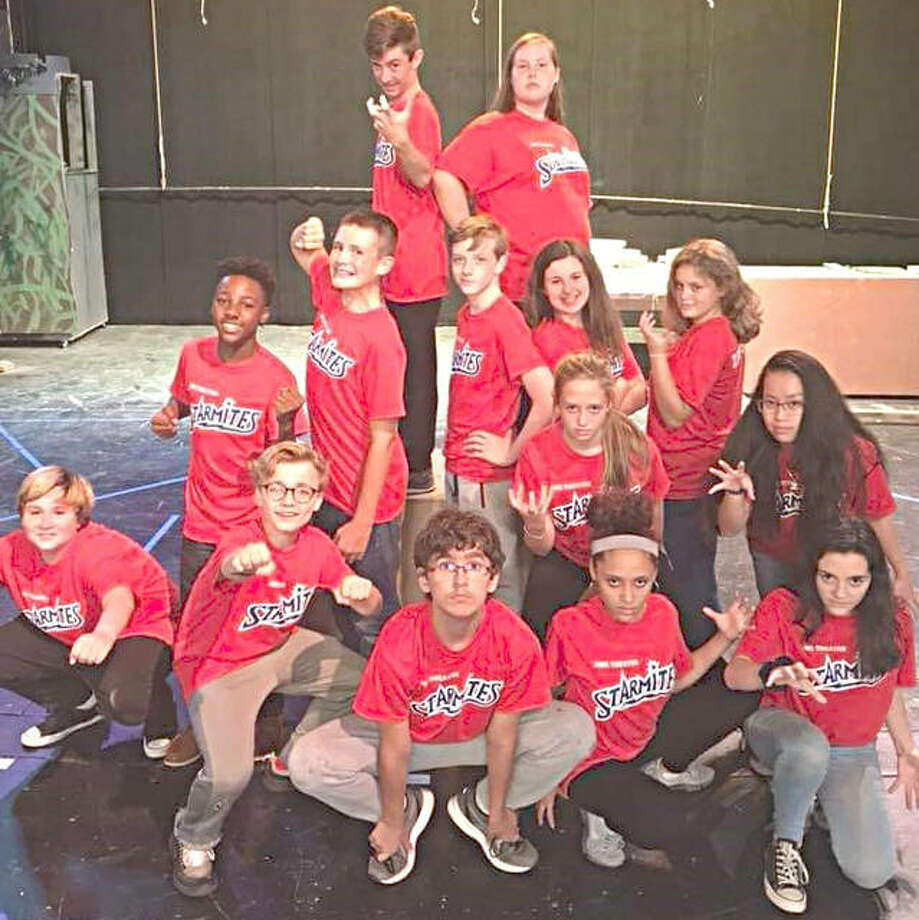 "Members of the Alton Middle School production of ""Starmites the Musical"" include, from row from left, Lane Sparks (Starmite), Victor Hull (Starmite), Peter Malenic (Trinkulus), Arianna Woods (Banshee Leader), Lani McFarland (Banshee Leader); middle row, from left, William Harris II (Starmite), Aaron Swanson (Starmite), Devin Sadler (SpacePunk), Katie Rich (Eleanor), Meredith Rulo (Banshee Leader), Corrine Jones (Banshee Leader), Phuong Tran (Banshee Leader); and back row, from left, Miles Wrischnik (Shak Graa) and Olivia Buck (Diva)."