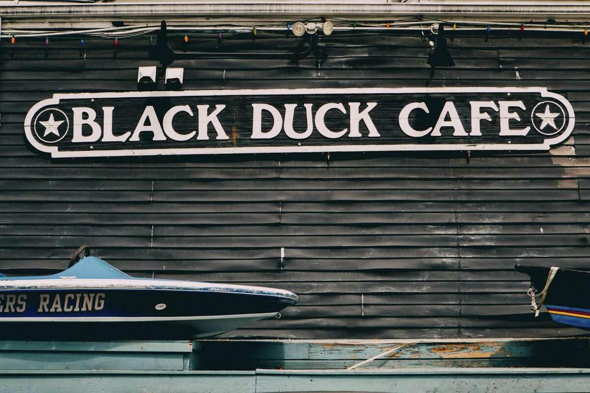The front facade of the Black Duck Cafe, which is a converted 1840s barge, in Westport, CT,