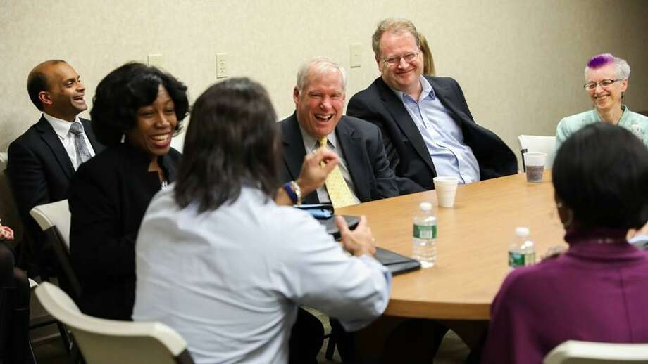 Federal Reserve Bank of Boston President Eric Rosengren talks with the Middletown Working Cities Challenge team, which includes over 20 organizations dedicated to increasing the earning power of single-parent households. Photo: File Photo