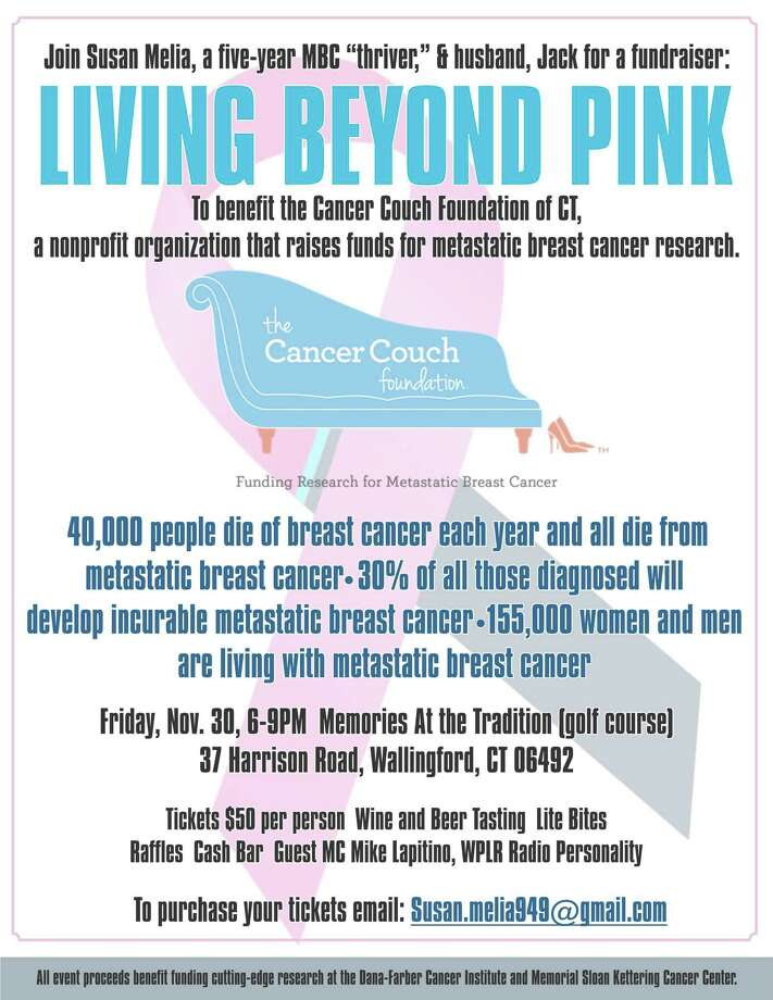"Join Susan and Jack Melia of Wallingford for a special evening, ""Living Beyond Pink,"" to benefit the nonprofit Cancer Couch of Southport, which raises funds for metastatic breast cancer research at the Dana-Farber Cancer Institute and Memorial Sloan Kettering Cancer Center. Photo: Contributed"