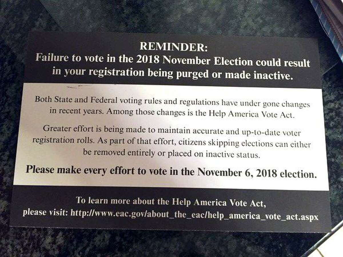 A campaign mailer for a Republican state Senate candidate seems to suggest that if voters don't cast ballots, they will be struck from the registration rolls. The mailers were sent out on the behalf of at least one Republican Senate candidate, state Rep. Pam Staneski of Milford, who is running for a Senate seat that includes West Haven, Woodbridge and Orange, and was designed by Mike Cronin, the top Senate Republican lawyer. Read more here