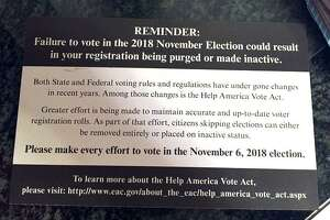 A campaign mailer for a Republican state Senate candidate seems to suggest that if voters don't cast ballots on Tuesday, they will be struck from the registration rolls.