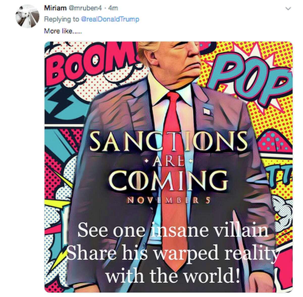 Twitter responds to President Donald Trump's sanctions tweet.