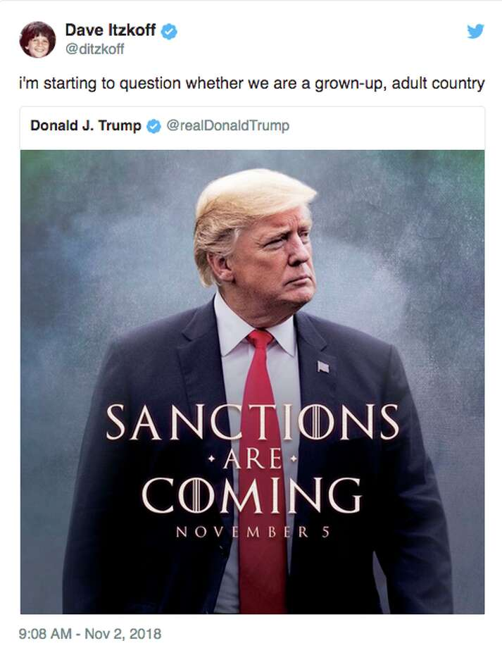 Twitter responds to President Donald Trump's sanctions tweet. Photo: Twitter