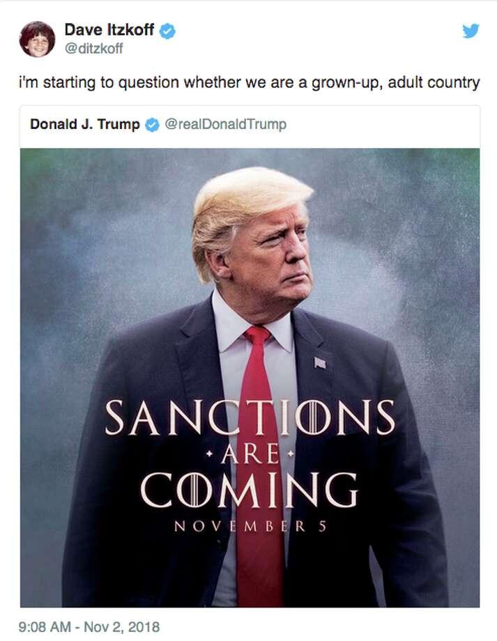 Twitter responds to President Donald Trump's sanctions tweet. Photo: Twitter