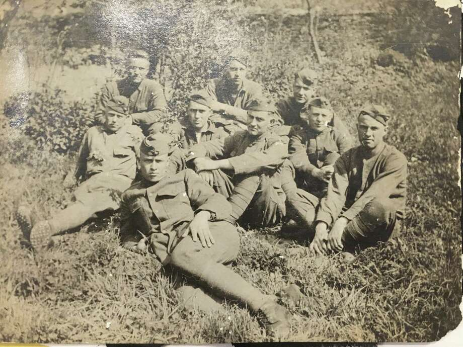 A group of US Marines in World War I in France. Merry Wise's father Charles F. Martin served in World War I in 1918 and 1919. She has an extensive collection of memorabilia from his time in the war.