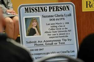 A poster is displayed as Mary Lyall, mother of Suzanne Lyall, speaks as The College of Saint Rose as it holds a news conference to announce its new Cold Case Analysis Center at College of Saint Rose on Friday, Nov. 2, 2018 in Albany, N.Y. Mary is the co-founder of the Center for Hope in Ballston Spa, and advocate for families with missing children. The press conference discussed the centerÕs work with Mary Lyall, whose daughter, Suzanne, a University at Albany student, disappeared in 1998. (Lori Van Buren/Times Union)