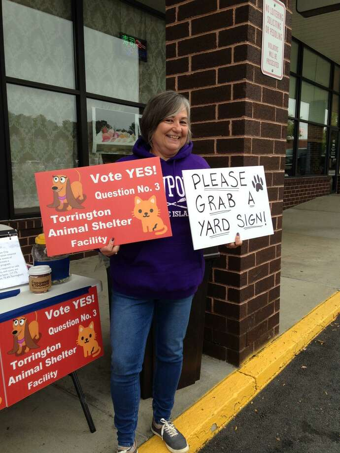 Patti Sebest, a member of the Friends of the Torrington Animal Shelter Facility, is hoping voters will support the city's efforts to have a regional animal shelter built in the city to replace its aging dog pound. The group is holding an awareness event in front of Serenity Nail Spa in Torrington on Saturday, Nov. 3. Photo: Contributed Photo /