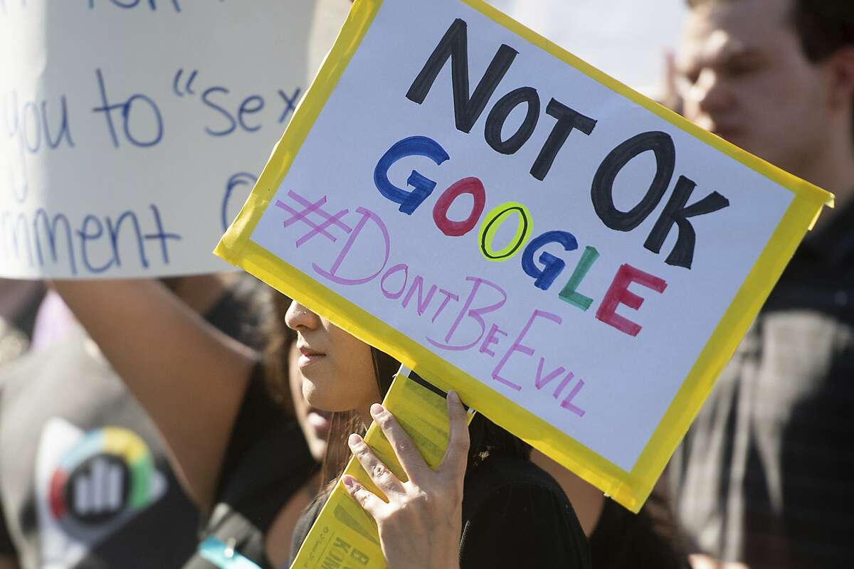 Workers protest against Google's handling of sexual misconduct allegations at the company's Mountain View, Calif., headquarters on Thursday, Nov. 1, 2018. (AP Photo/Noah Berger)