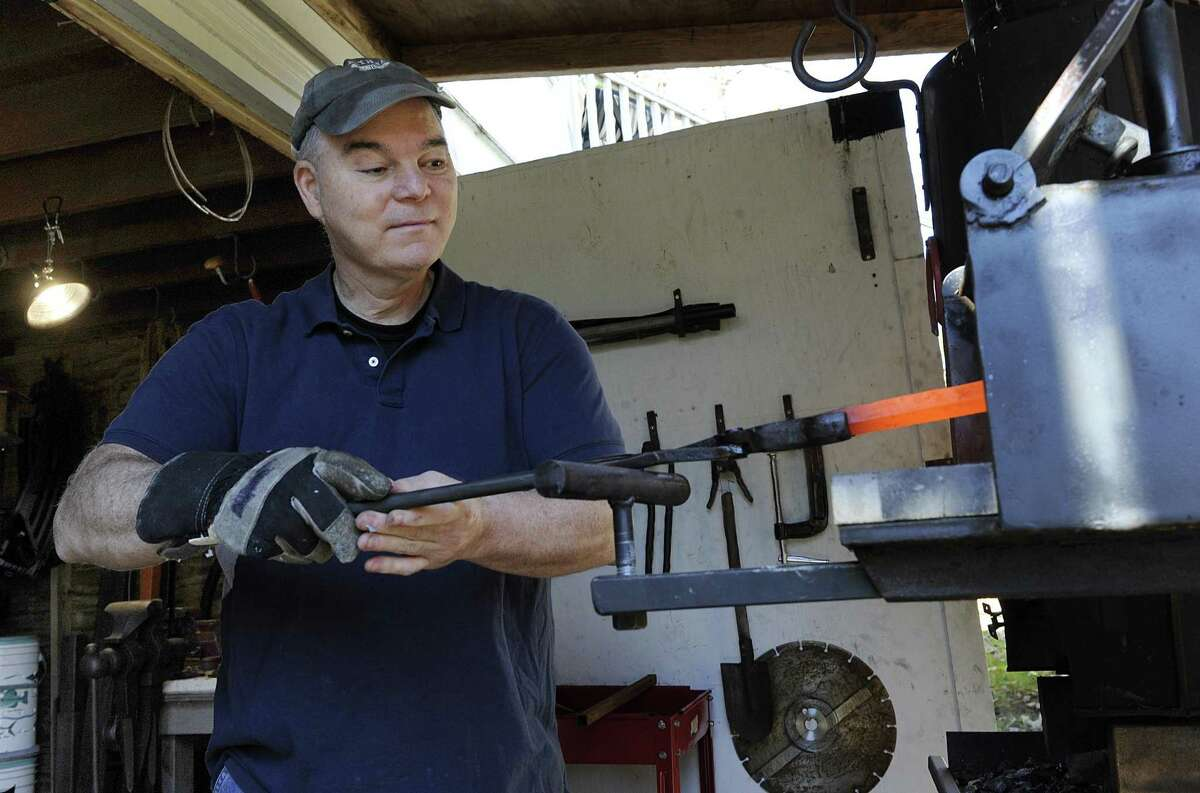 """Rick Rabjohn, of Bethel, competed recently on """"Forged in Fire,"""" a History Channel TV show where blacksmiths compete. Photo Tuesday, Oct. 30, 2018."""