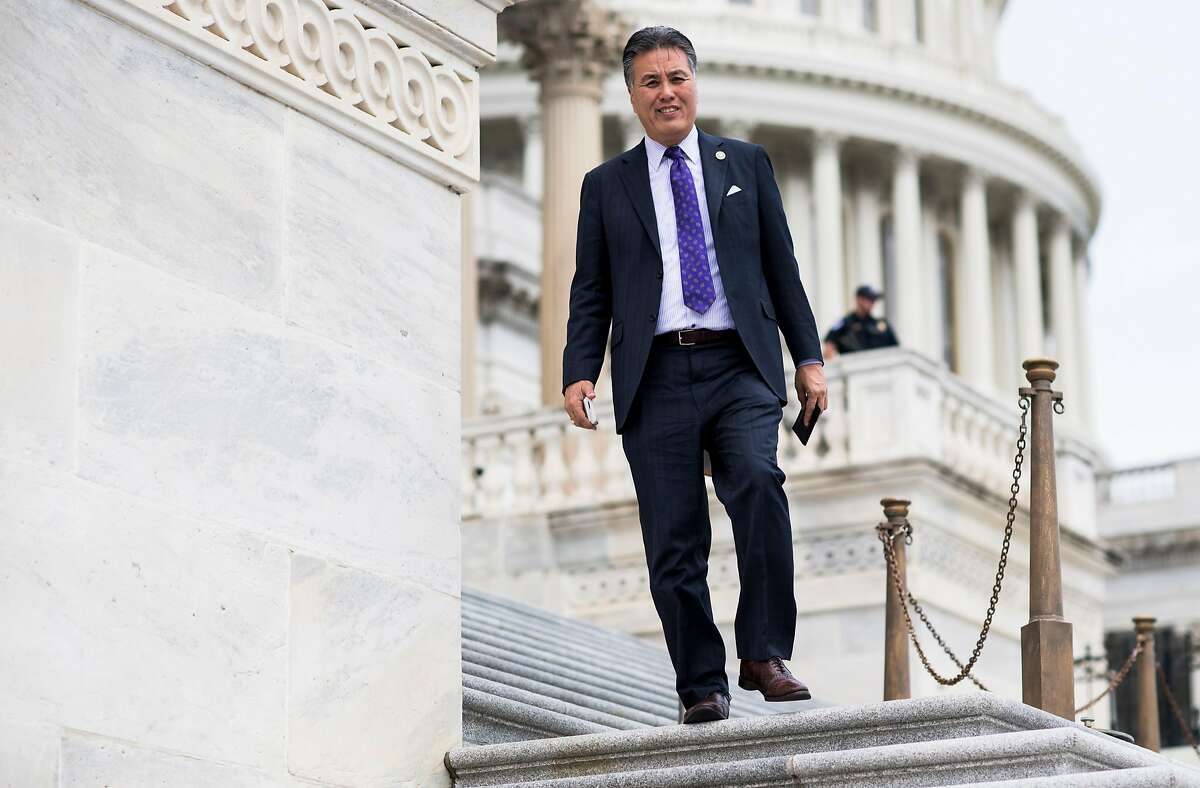 UNITED STATES - MAY 4: Rep. Mark Takano, D-Calif., walks down the House steps at the Capitol after a series of votes on repeal and replace of Obamacare on Thursday, May 4, 2017. (Photo By Bill Clark/CQ Roll Call)