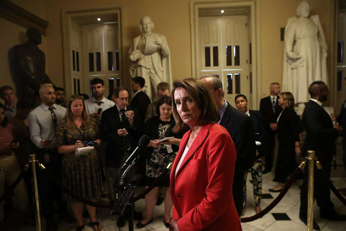 WASHINGTON, DC - JULY 23: House Minority Leader Nancy Pelosi speaks at a press conference at the U.S. Capitol July 23, 2018 in Washington, DC. Pelosi, Rep. Adam Schiff (D-CA) and Rep. Eliot Engel (R) have introduced a resolution condemning U.S. Presiden