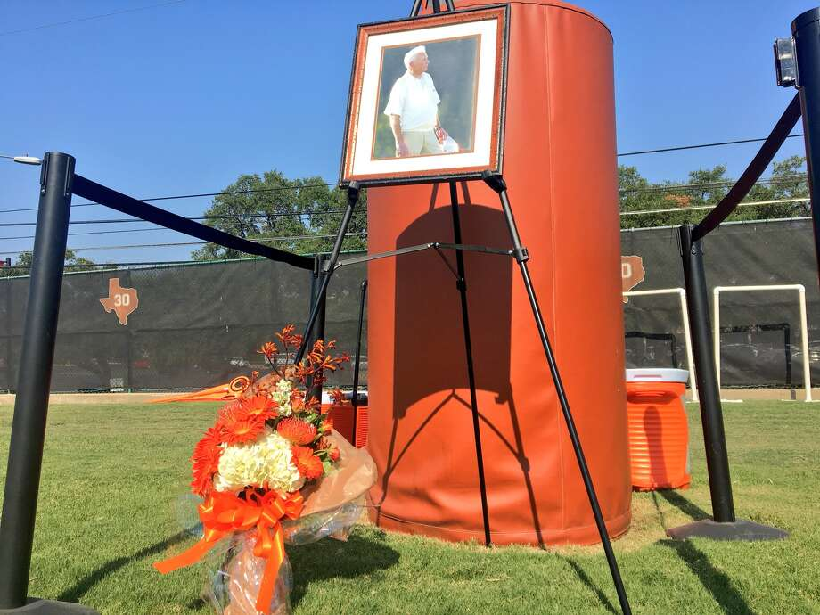 In this file photo, Texas paid tribute to the late Frank Denius, a longtime Longhorn booster on the practice field named after him. Photo: Courtesy Of Texas Athletics