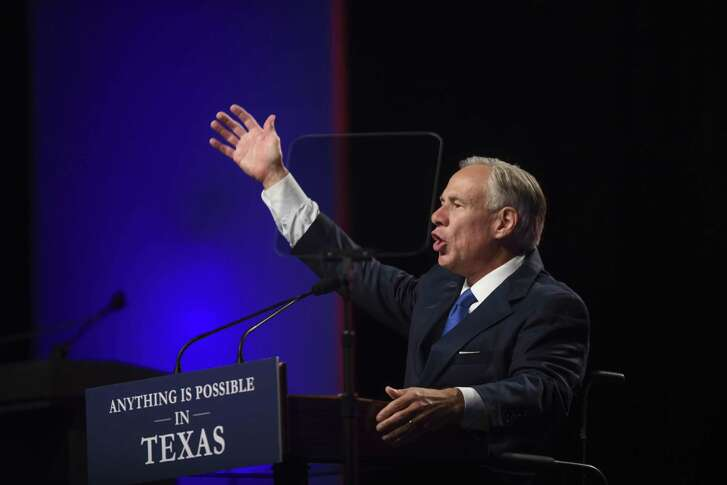 Gov. Greg Abbott speaks at the Republican Party of Texas convention at the Henry B. Gonzalez Convention Center on Friday, June 15, 2018.