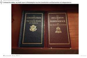 This Reddit post from early in 2018 shows copies of both the US Constitution and the Declaration of Independence in lieu of a bible at a Philadelphia-based hotel.