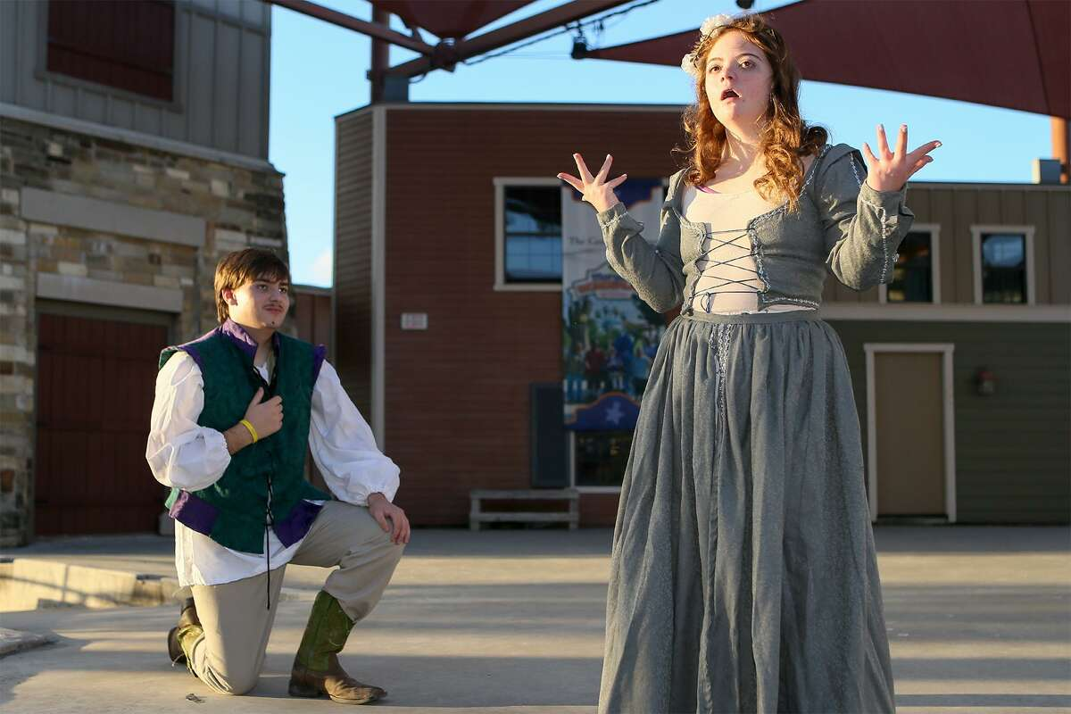 """Cody Murray, from left, 17, and Leah Meyer, 18, portray Romeo and Juliet during a rehearsal for """"Scenes, Sonnets and Soliloquies: Vol 1,"""" a show that features people with and without special needs."""