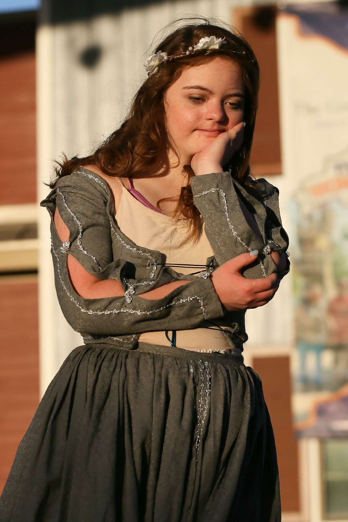 """Leah Meyer, 18, takes part in a dress rehearsal for """"Scenes, Sonnets and Soliloquies: Vol 1,"""" which includes snippets from several of Shakespeare's plays. Meyer plays Juliet in the balcony scene from """"Romeo and Juliet."""""""