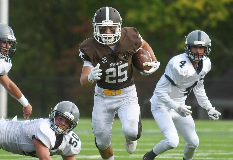 Brunswick senior running back Michael Gottlieb is expected to carry more of the load with junior starter Jalen Madison expected to miss Saturday's game against Trinity-Pawling due to an ankle injury. Photo: Gregory Vasil / For Hearst Connecticut Media / Connecticut Post Freelance