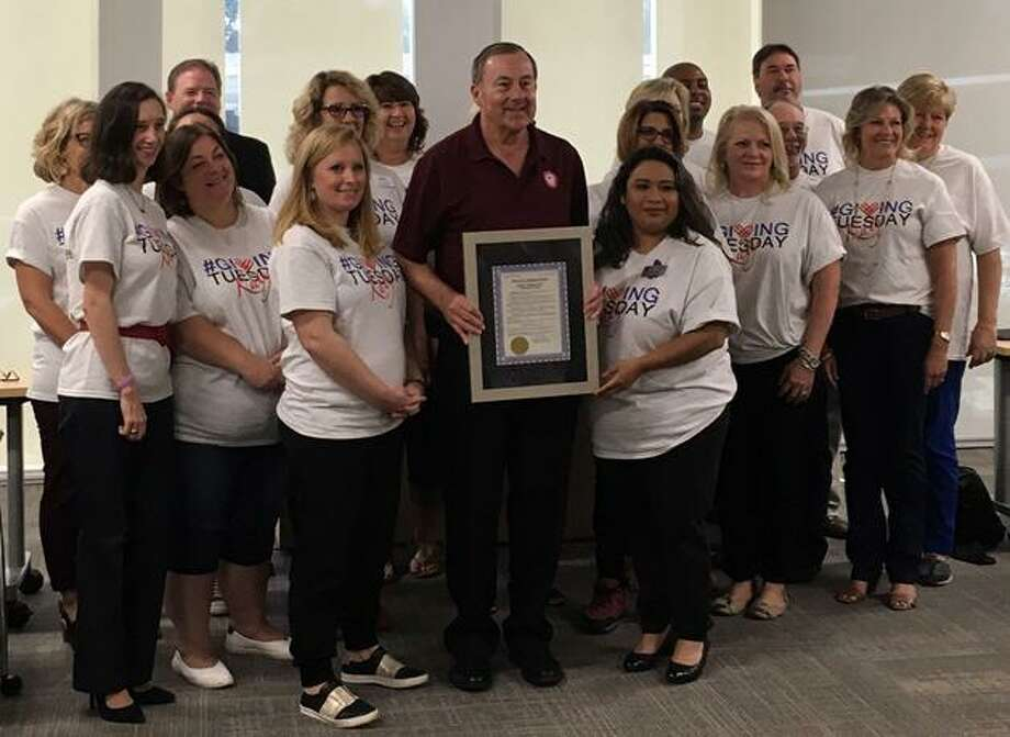 Representatives of Katy-area nonprofits attended an Oct. 30 press conference to announce a city-wide #GivingTuesday Katy campaign. Katy Mayor Chuck Brawner read a proclamation in support of #Giving Tuesday. A total of 16 nonprofits will be participating. Photo: Karen Zurawski / Karen Zurawski