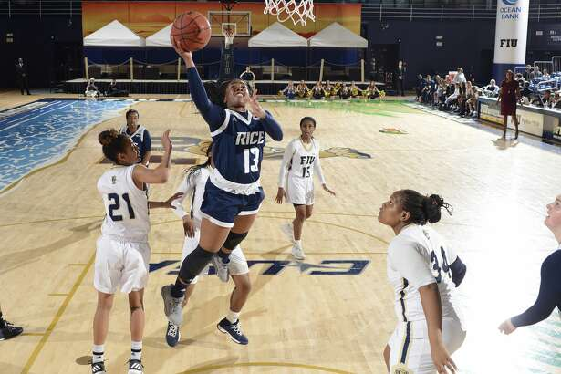 MIAMI, FL - JANUARY 13: Rice guard Erica Ogwumike (13) shoots during a college basketball game between the Rice University Owls and the Florida International University Panthers on January 13, 2018 at the Ocean Bank Convocation Center, Miami, Florida. FIU defeated Rice 68-58. (Photo by Richard C. Lewis/Icon Sportswire via Getty Images)