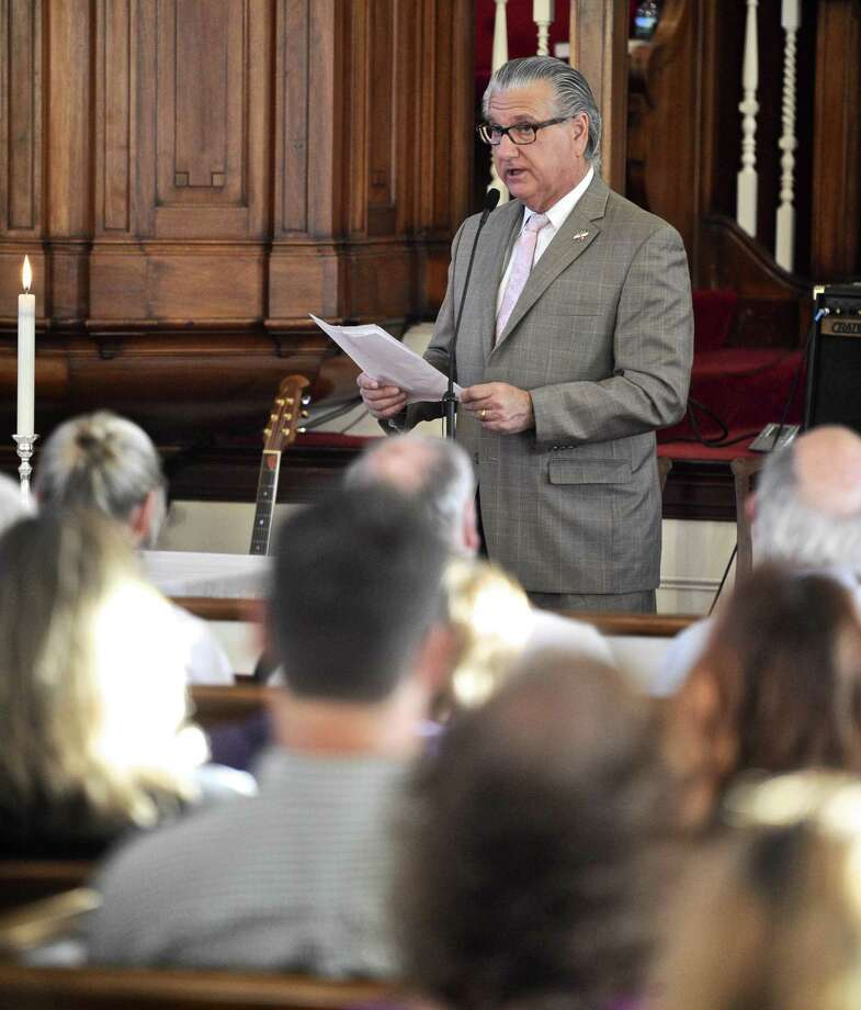 Joseph Walkovich, President ARC Board of Directors, speaks during a vigil to honor those killed in the nightclub shooting in Orlando, Fl. held at the First Congregational Church of Danbury on Tuesday evening, June 21, 2016. Photo: H John Voorhees III / Hearst Connecticut Media / The News-Times