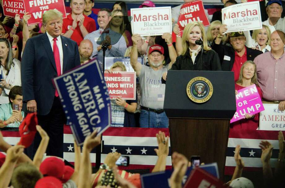 Yes, President Donald Trump has been our divider-in-chief — shown here praising Tennessee Senate candidate Rep. Marsha Blackburn, right, on Oct. 1 — but there are things each of us can do to heal the nation. Photo: Michael McCollum /TNS / Zuma Press