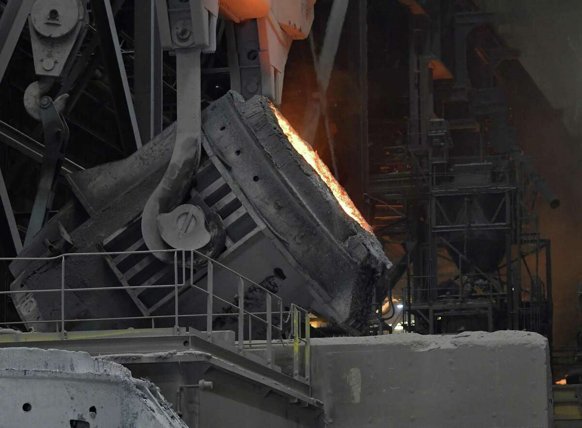 A cauldron of melted steel moves into position to be poured into the supply system for producing rolls of sheet steel at a NUCOR plant. U.S. steel makers have benefited from tariffs imposed by the Trump administration, but other industries are bearing the brunt of higher costs. More requests for waivers from steel tariffs have come from Texas than any other state, with 90 percent of those requests coming from companies in the Houston area, according to datas from the U.S. Commerce Department compiled by the Associated Press.