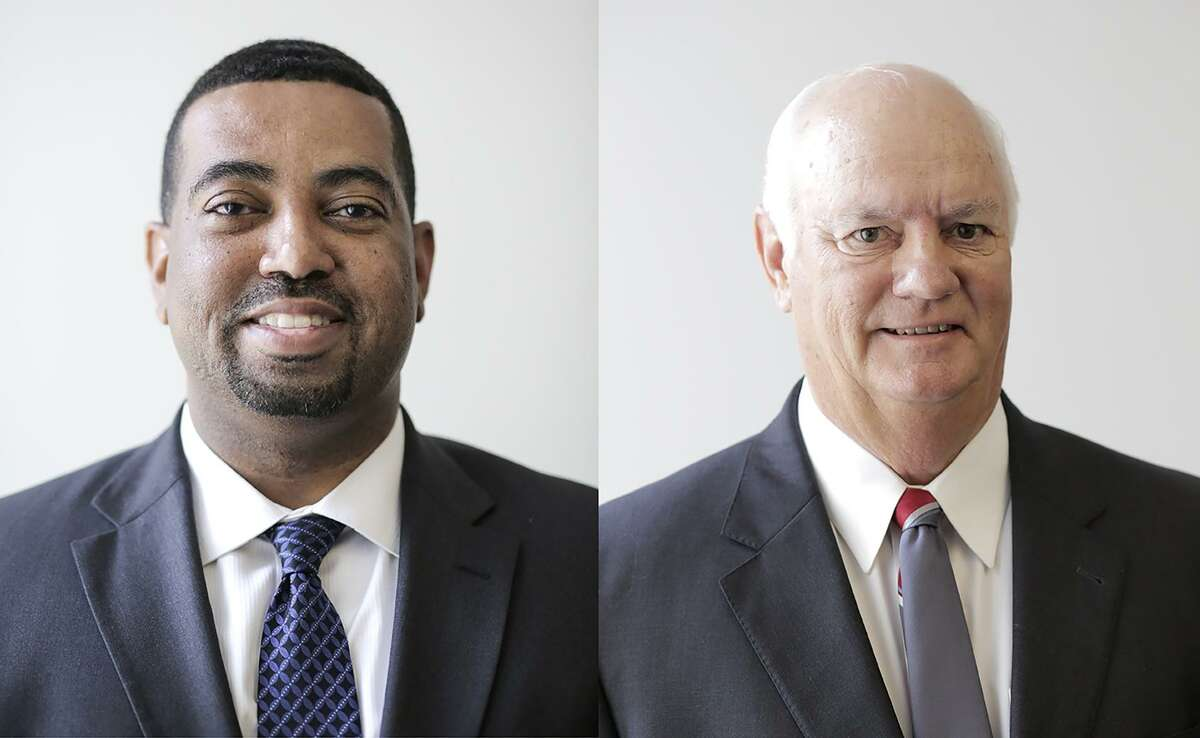 Democrat Brian Middleton (left) defeated Republican Cliff Vacek to become the first African American elected as Fort Bend County District Attorney and the first Democrat to hold the position in 26 years.
