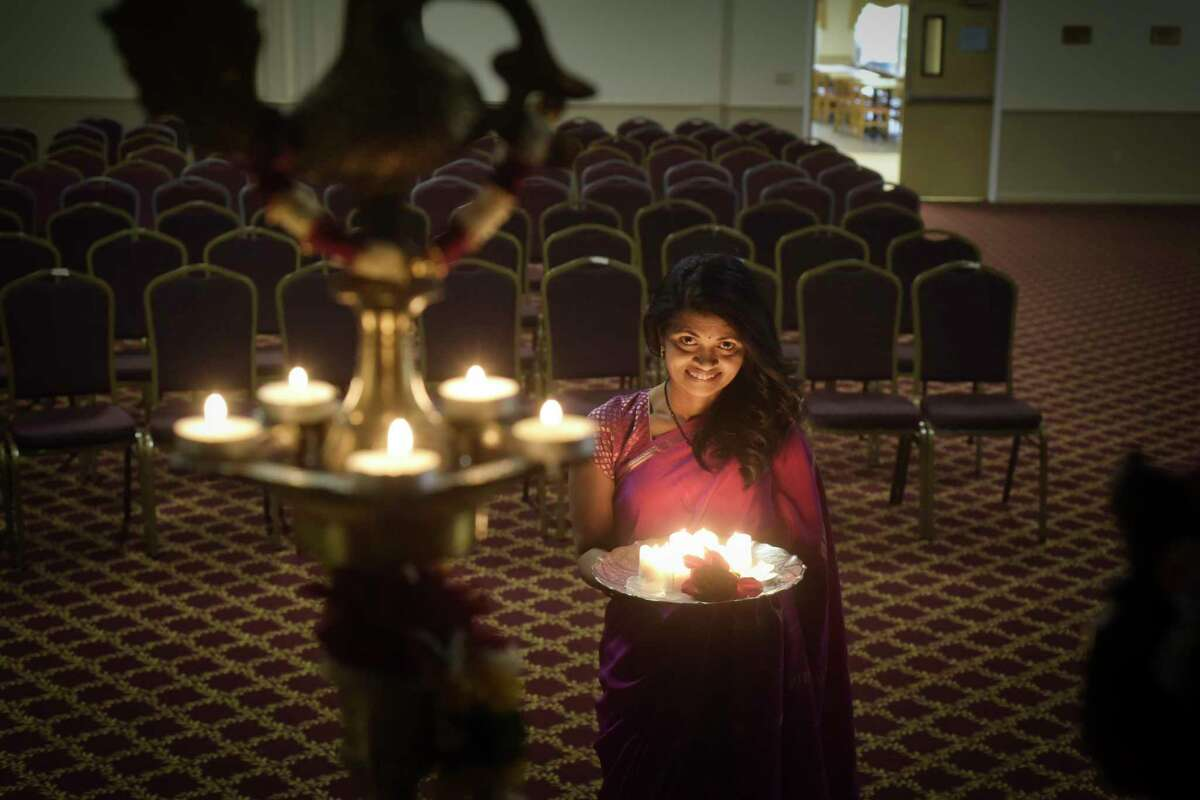 Dr. Rani Gandham poses for a photo inside the Hindu Cultural Center on Wednesday, Oct. 31, 2018, in Colonie, N.Y. Dr. Gandham, a volunteer at the center, is involved with the celebration of Diwali (festival of lights) that will be held at the center on November 10th. (Paul Buckowski/Times Union)
