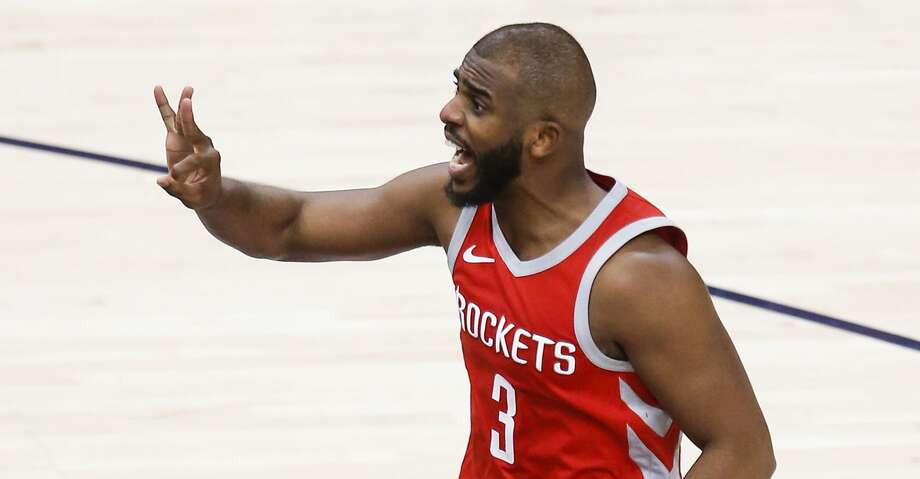PHOTOS: Rockets game-by-game Houston Rockets guard Chris Paul (3) reacts, gesturing to be awarded a 3-pointer, after he was fouled before taking a half-court shot during the second half of Game 4 of the NBA second-round playoff series at Vivint Smart Home Arena Sunday, May 6, 2018 in Salt Lake City. The foul was called a non-shooting foul. (Michael Ciaglo / Houston Chronicle) Browse through the photos to see how the Rockets have fared in each game this season. Photo: Michael Ciaglo/Houston Chronicle